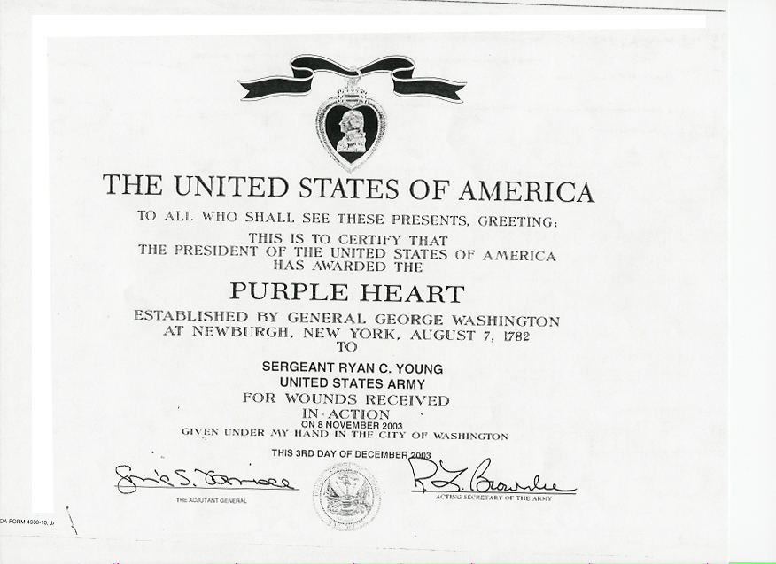 Purple heart award certificate ryan young military for Purple heart citation template